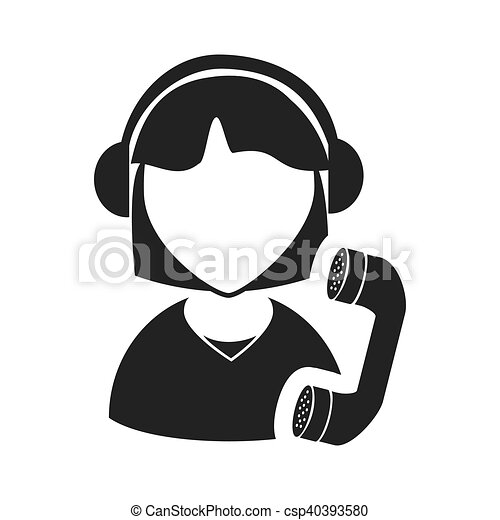 Avatar Woman Call Center Avatar Woman Online Support Call Center With Telephone Headset Icon Silhouette Vector Illustration