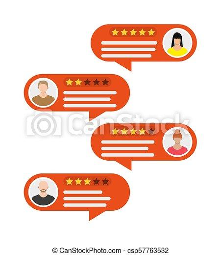 avatars., valutazione, discorsi, bolla, app. - csp57763532