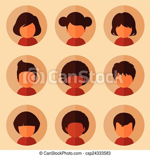 set of cartoon avatars vector kids characters boys and girls faces