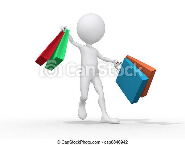 avbild, isolerat, man, white., väska, shoping, 3 - csp6846942