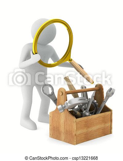 avbild, isolerat, toolbox., förstoringsapparat, man, 3 - csp13221668