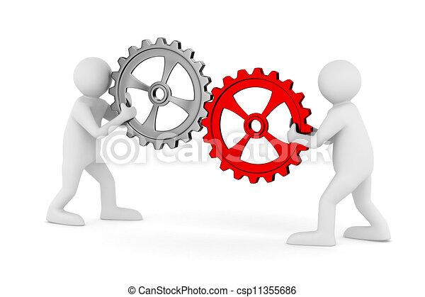 avbild, isolerat, två, gears., man, 3 - csp11355686