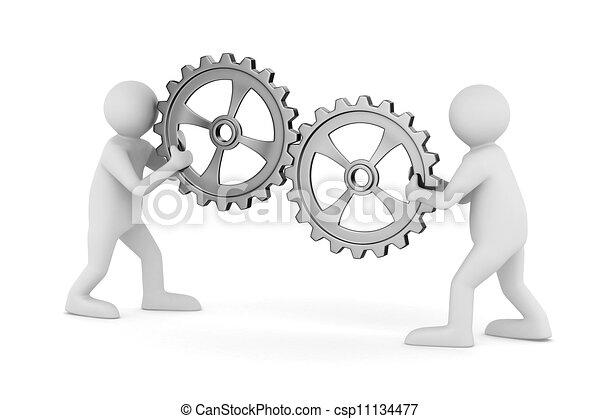 avbild, isolerat, två, gears., man, 3 - csp11134477
