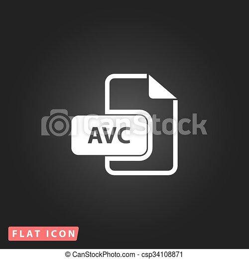 AVC file icon  Flat vector illustrator