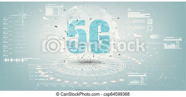 avenir, internet, 5g, technologie, exposer, design. - csp64599368