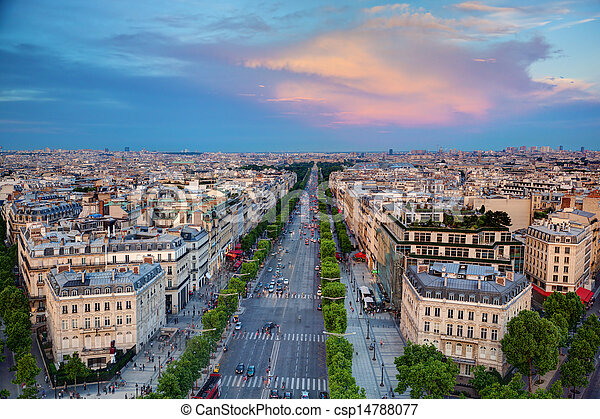 Avenue des Champs-Elysees in Paris, France - csp14788077