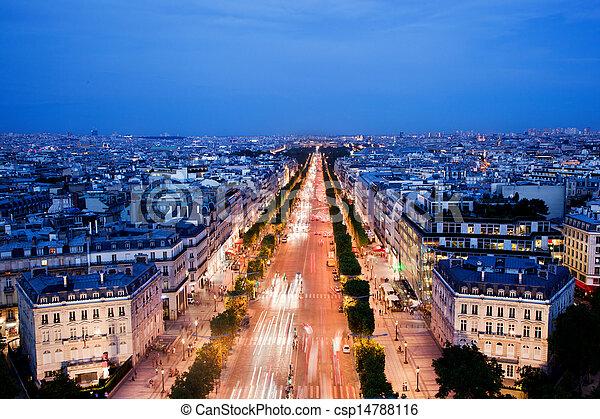Avenue des Champs-Elysees in Paris, France at night - csp14788116
