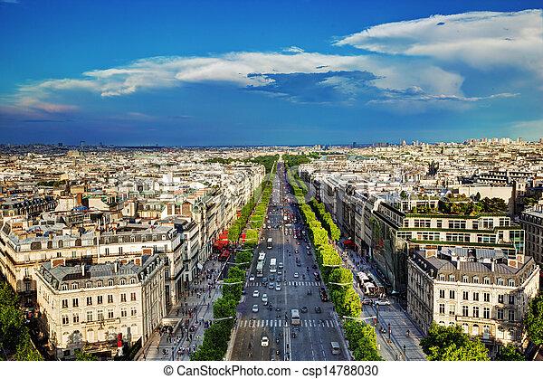 Avenue des Champs-Elysees in Paris, France - csp14788030