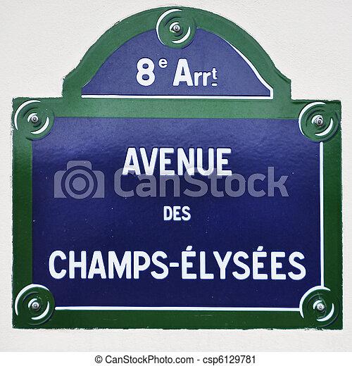 Avenue des Champs-Elysees street sign in Paris - csp6129781