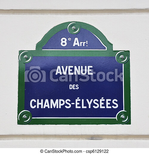 Avenue des Champs-Elysees street sign in Paris - csp6129122