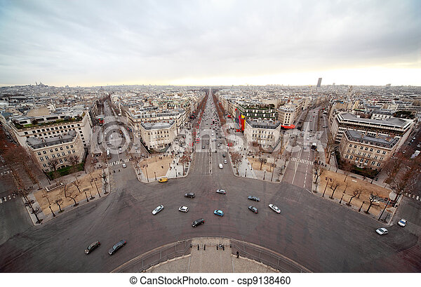 Avenue Marceau, avenue des Champs-Elysees, boulevard Haussmann - csp9138460
