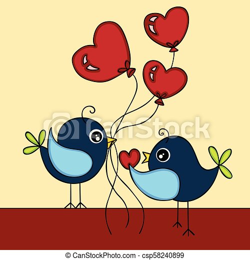 Pájaros enamorados - csp58240899
