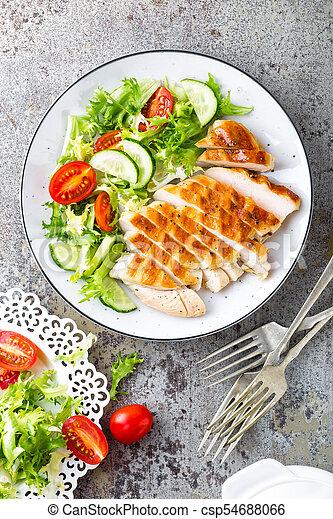 Dieta pollo y ensalada