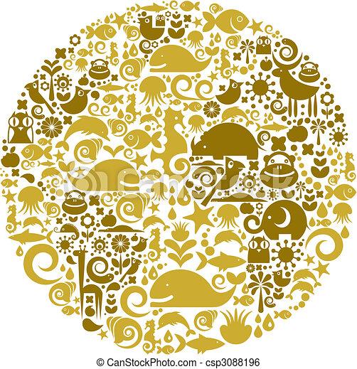 Esbozo del globo hecho de aves, animales y iconos de flores - csp3088196