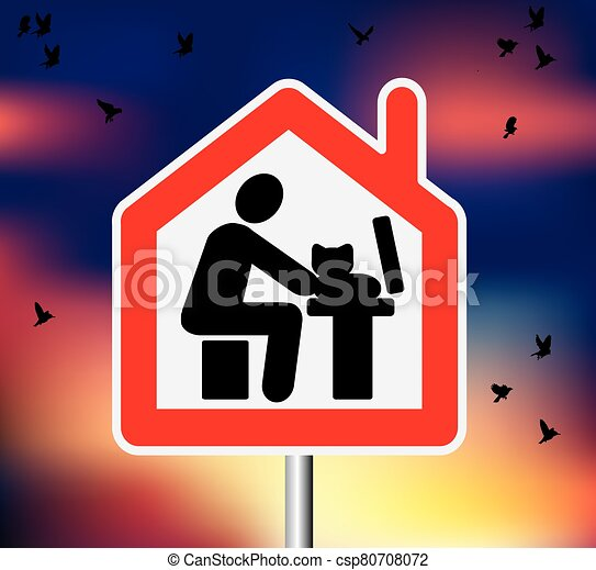 aves, señal, trabajo computadora, cielo, remoto, camino, hogar - csp80708072
