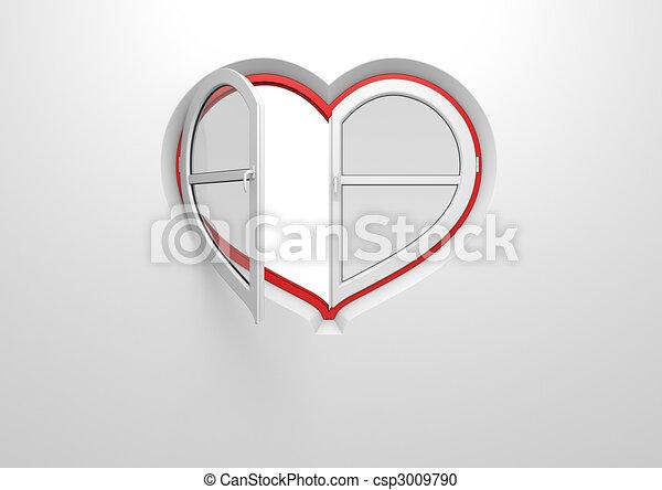 aveugle, coeur, fenêtre, pre-opened, soleil - csp3009790