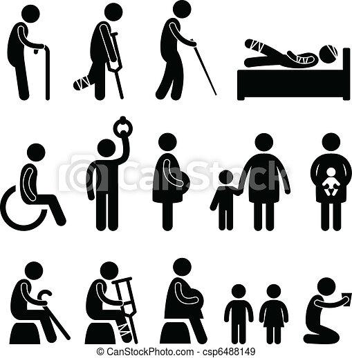 aveugle, vieux, disable, patient, homme, icône - csp6488149