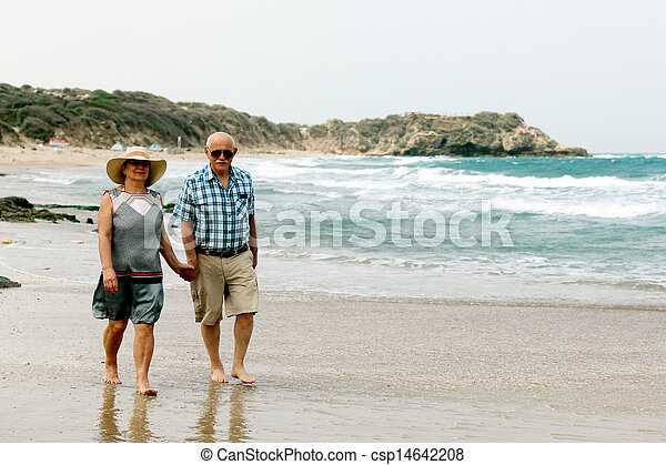 avgång, par semester, äldre, deras, hav, avnjut, lycklig - csp14642208