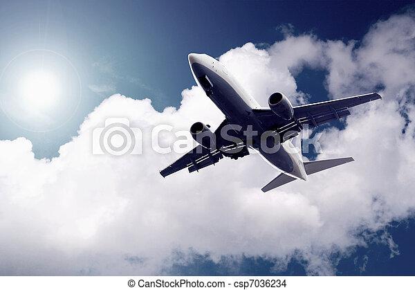 avião azul, céu - csp7036234