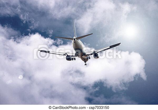 avião azul, céu - csp7033150