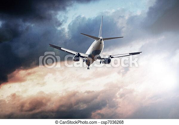 avião azul, céu - csp7036268