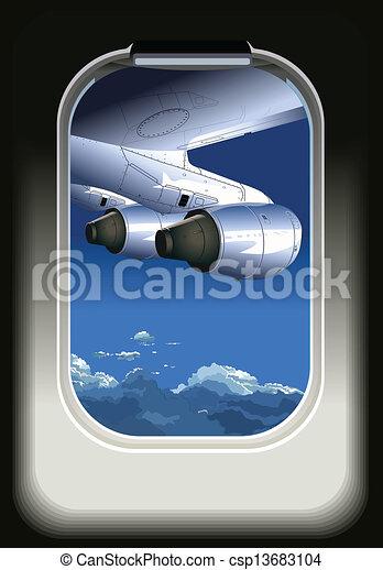 avião, vista - csp13683104