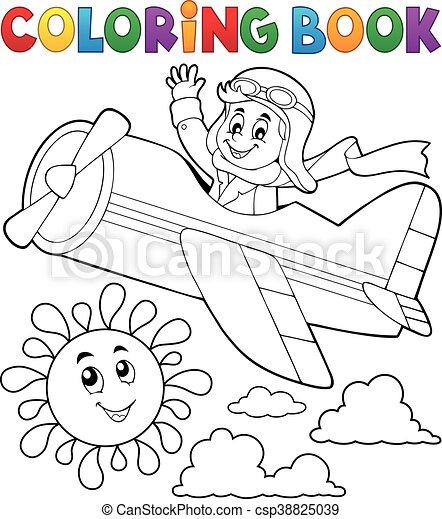 Avión, libro colorear, piloto, retro. Colorido, eps10, illustration ...
