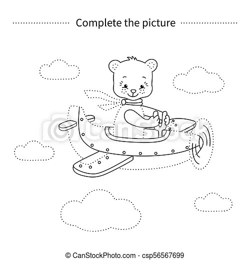 Avión., oso. Airplane.coloring, completo, game., picture.bear ...