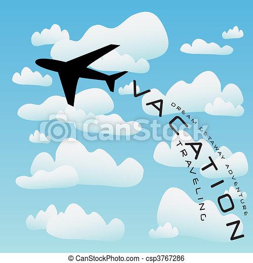 avión, vector, recorrido de las vacaciones - csp3767286
