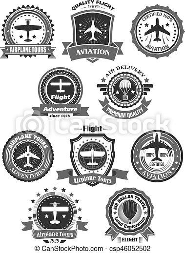 Aviation Badges And Air Trip Tour Vector Symbols Aviation Adventure