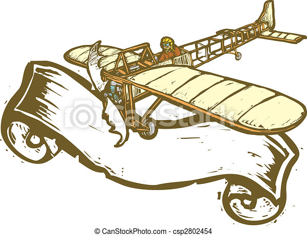 Aviation Banner Vintage Airplane With Scroll In Eps Vector