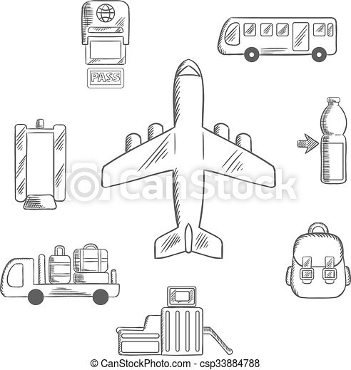 Aviation croquis a roport service ic nes passager boisson autobus service ic nes - Croquis avion ...