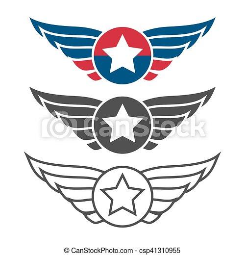 aviation emblem set badges or logos military and civil aviation rh canstockphoto com air force logo vector white air force logo vector white