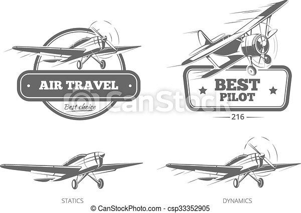 Aviation vector badges, logos, emblems, labels - csp33352905