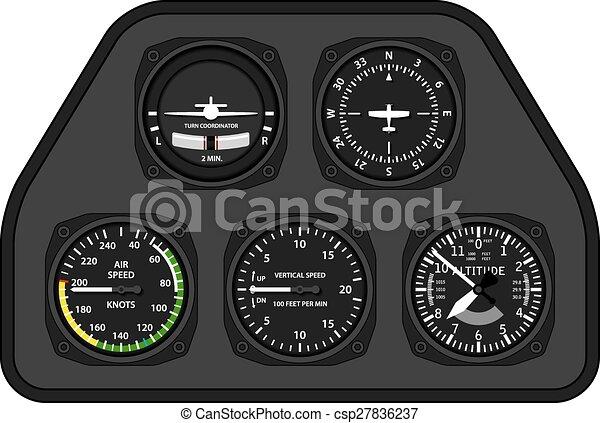 aviazione, aeroplano, aliante, cruscotto - csp27836237