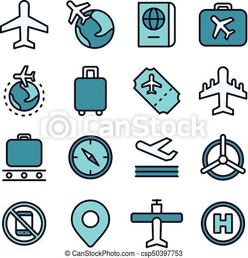aviazione, viaggiare, concetto, icona, aria - csp50397753