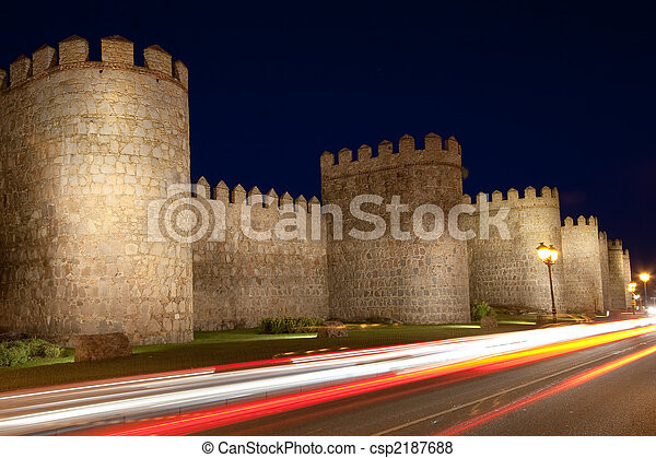 Avila tonight, Castilla y Leon (Spain) - csp2187688