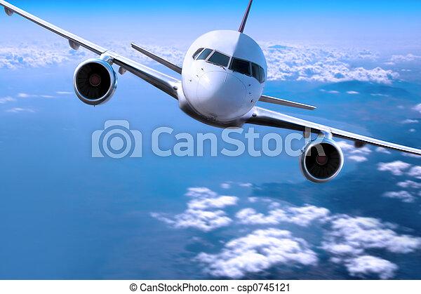 avion, nuages, au-dessus - csp0745121