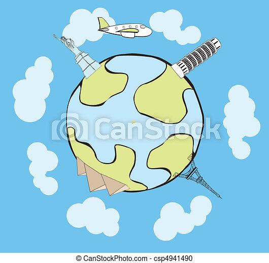 Avion vecteur voyager th autour de autour de globe - Dessin avion stylise ...