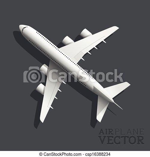 avion, vecteur, vue dessus - csp16388234
