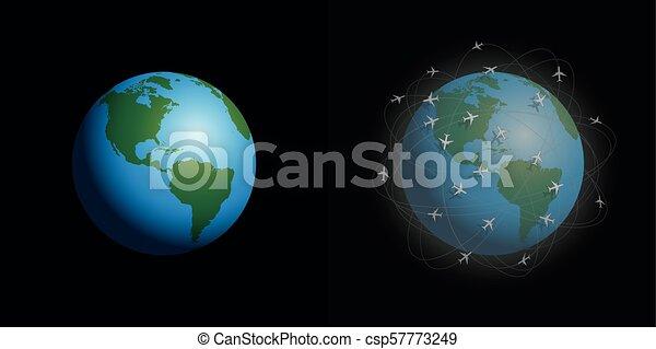 Aviones de contaminación del aire limpian planetas sucios - csp57773249