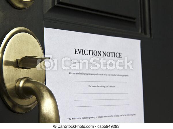 aviso, evicção, porta, letra - csp5949293