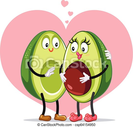 Avocado Family Pregnancy Announcement Funny Vector Design Funny Pregnant Cartoon Couple On Pink Heart Background