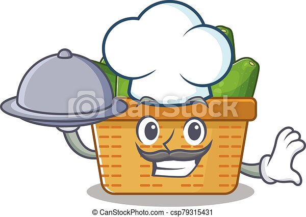Avocado fruit basket as a chef cartoon character with food on tray - csp79315431