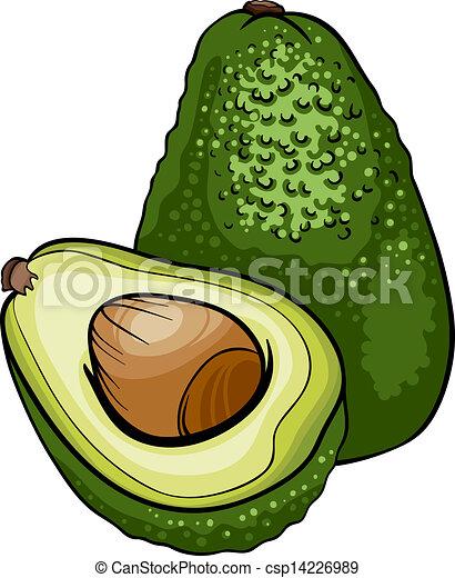 avocado fruit cartoon illustration - csp14226989