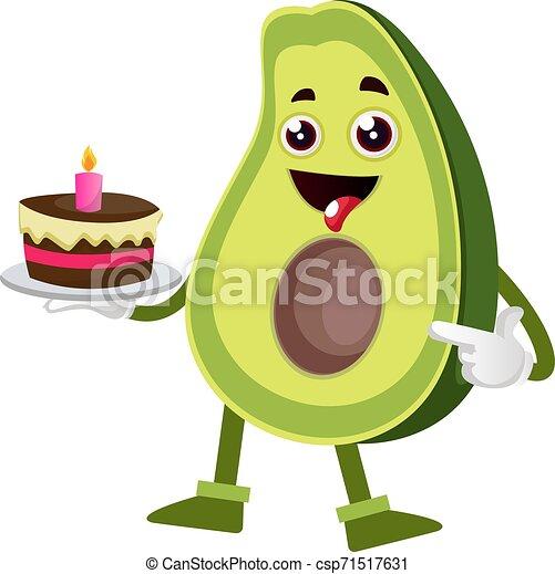 Awesome Avocado Holding Cake Illustration Vector On White Background Funny Birthday Cards Online Hendilapandamsfinfo