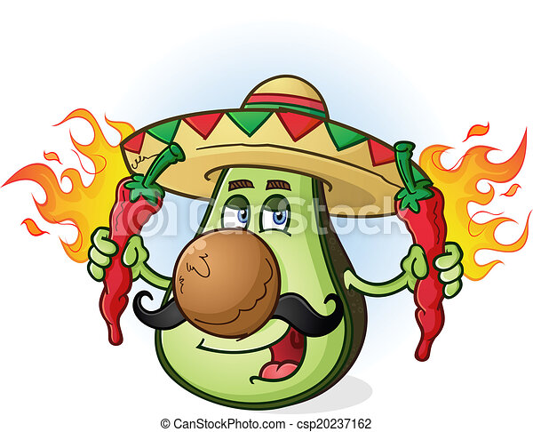 Avocado Mexican Cartoon Character - csp20237162