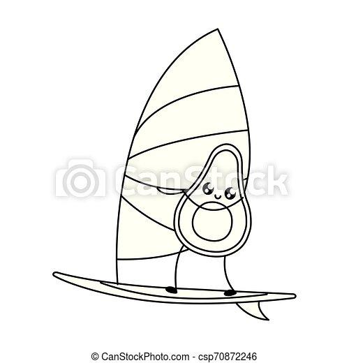 avocado with sailboat kawaii style - csp70872246