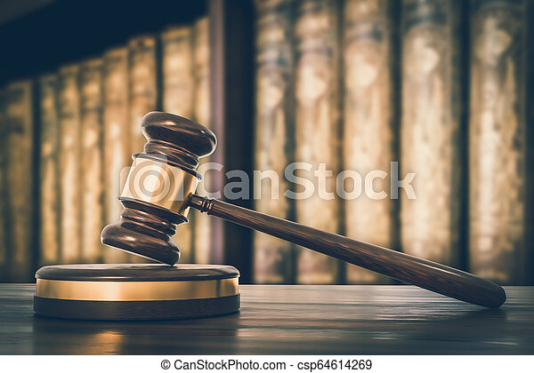 avocats, bureau, bois, livres, marteau, droit & loi - csp64614269