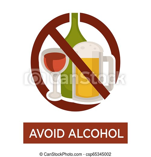 Avoid alcohol warning crossed beer and wine icon - csp65345002